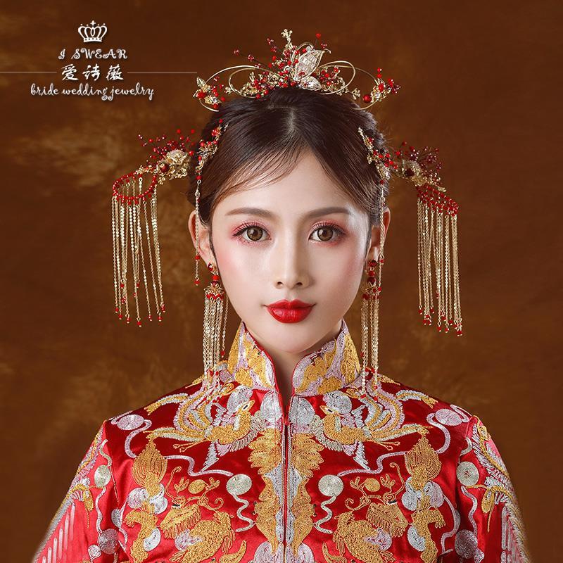 复古中式婚礼新娘结婚古装发饰手工串珠锆石发钗头饰配饰品