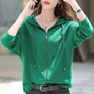 绿色长袖t恤女装2021年新款秋装连帽卫衣外套宽松拉链纯棉上衣潮