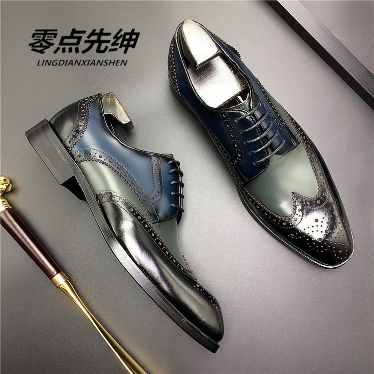 零点先绅时尚新品布洛克雕花皮鞋男商务正装牛津鞋亮皮新郎结婚鞋
