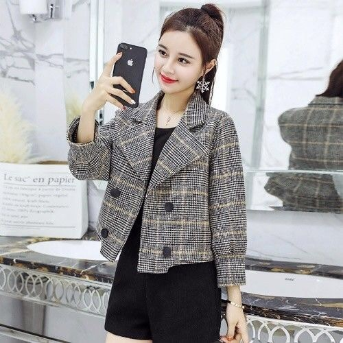 Plaid short tweed coat women 2021 new spring and autumn small tall suit casual casual suit