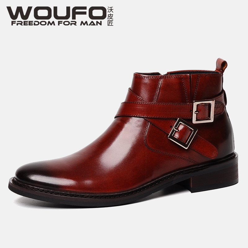 Top grade high top leather shoes mens leather high top shoes British business dress round head thick bottom buckle zipper trend