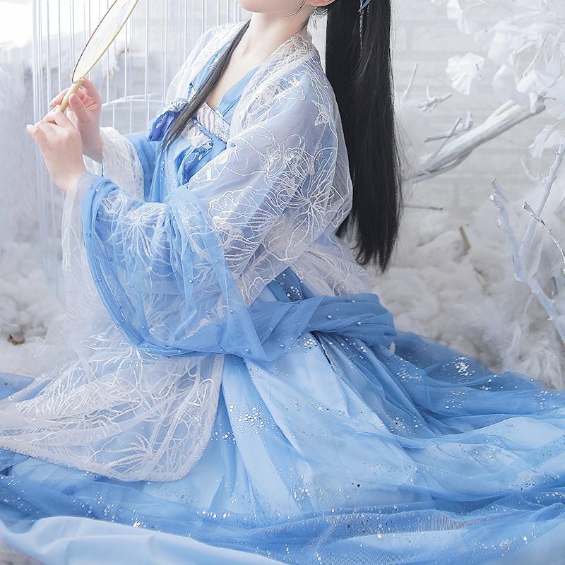热销0件五折促销即将绝版女鲛人泪蓝色齐胸超仙汉服