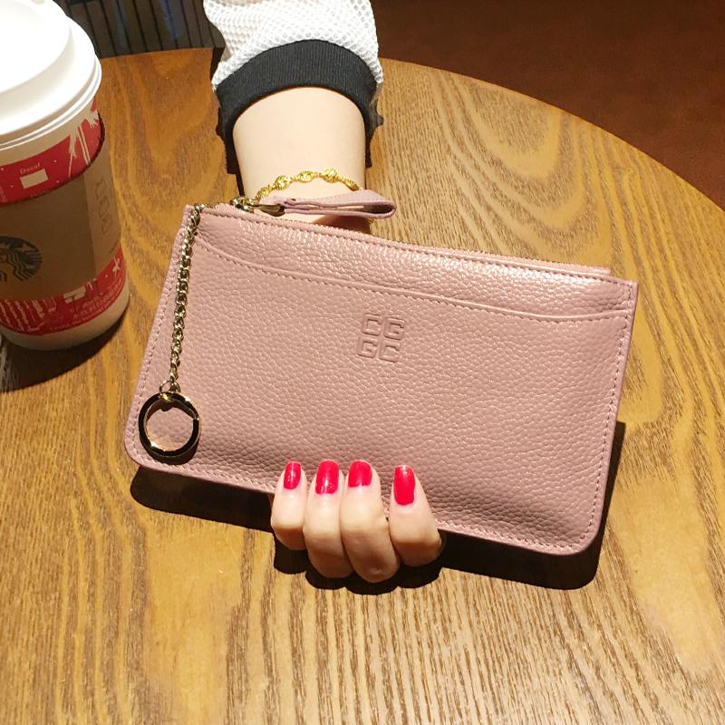 【天天特价】大牌真皮长小钱包女超薄纯色小清新牛皮票夹手机包