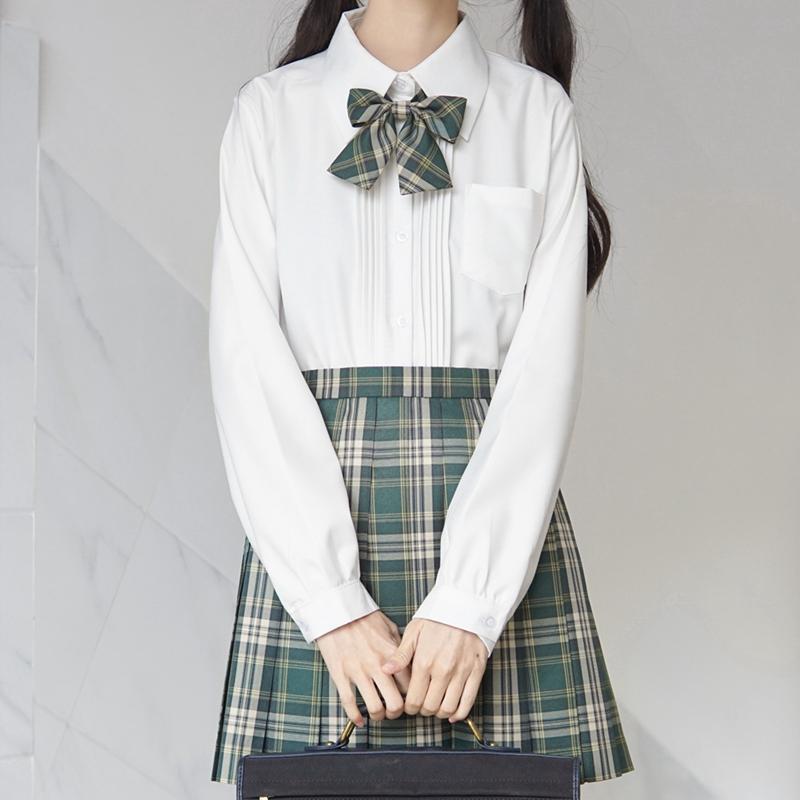 【刺篇原创】  JK制服正版日系基础款长袖风琴褶黑色白色衬衫女