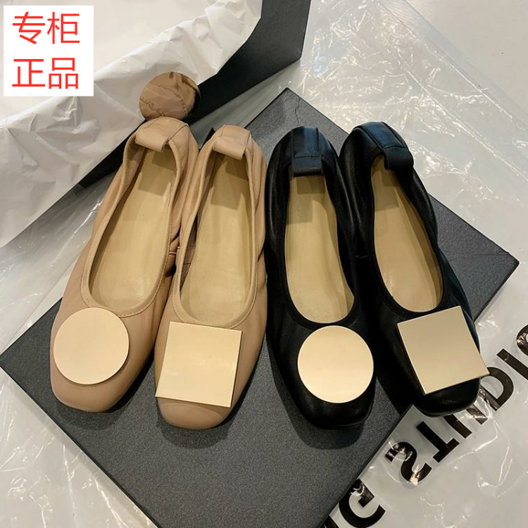 Fashionable brand network red apricot ballet single shoes women 2020 spring Ladybug shoes flat bottom shallow mouth mandarin duck buckle