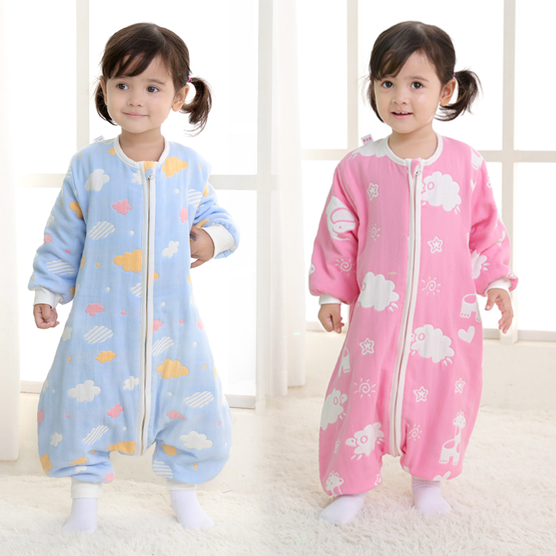 Baby's six-layer gauze sleeping bag Spring and Autumn thin leg-splitting baby kick-proof in autumn and winter by four seasons universal pure cotton
