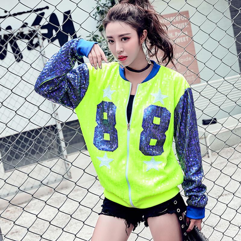 88数字短款棒球衫女长袖2019新款秋冬韩版彩色棒球服亮片短外套