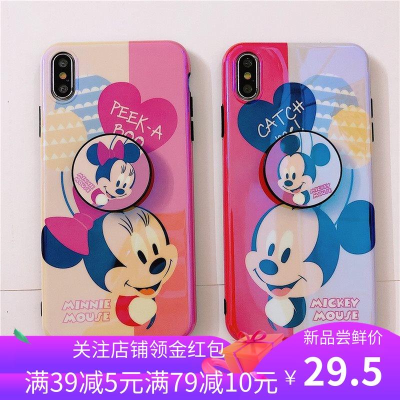 适用iPhoneXsMax手机壳苹果8躲猫猫baby蓝光XR米奇米妮带支架6S壳