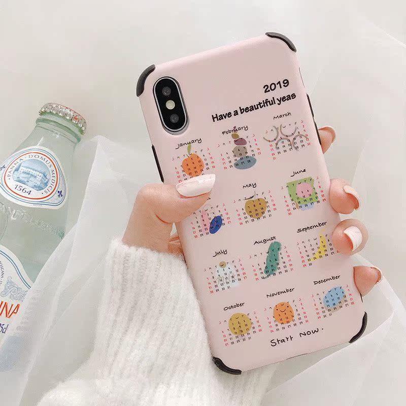 韩风日历苹果XS Max/XR适用手机壳iPhone8plus/7p/6s创意防摔软壳
