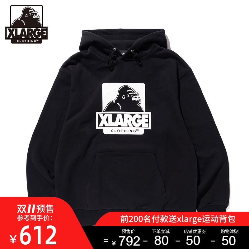 【双11预售】XLARGE 潮流男装 大猩猩图案印花宽松连帽卫衣