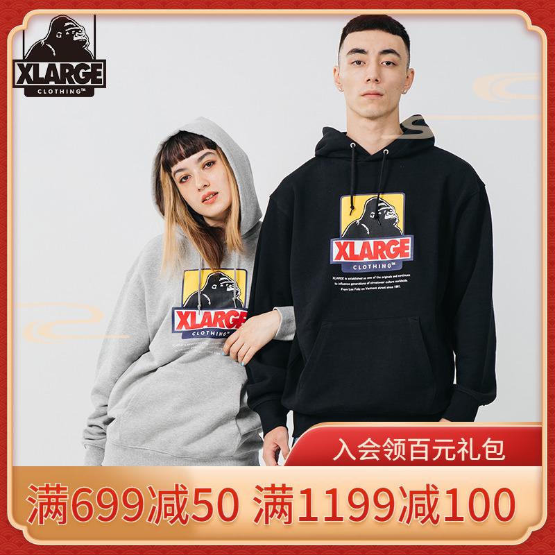 XLARGE潮流男裝 20年秋冬新品 大猩猩logo印花情侶連帽衛衣