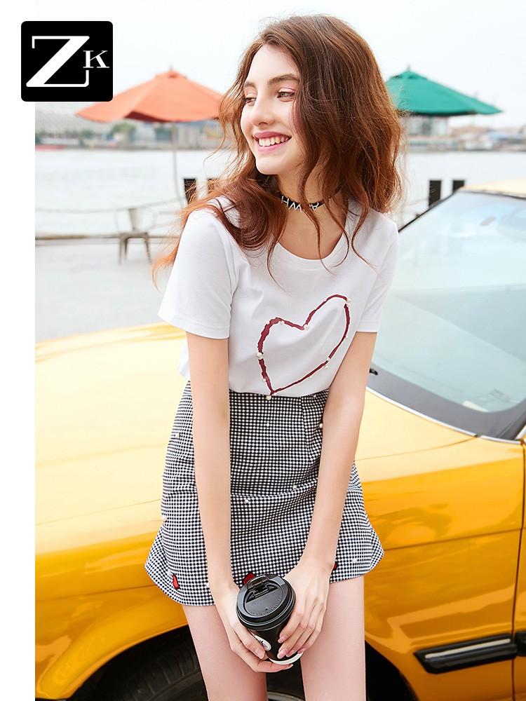 11-30新券zk白色网红爱心重工钉珠短袖t恤