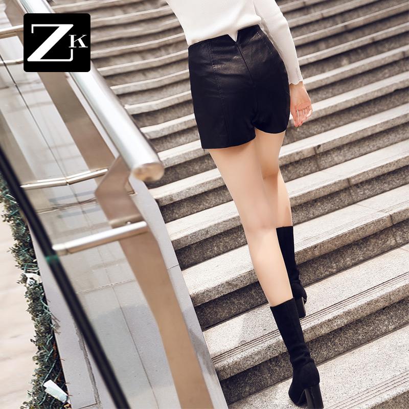 zk时尚修身靴裤女皮裤包臀显瘦短裤欧美风潮直筒裤2019春季新款