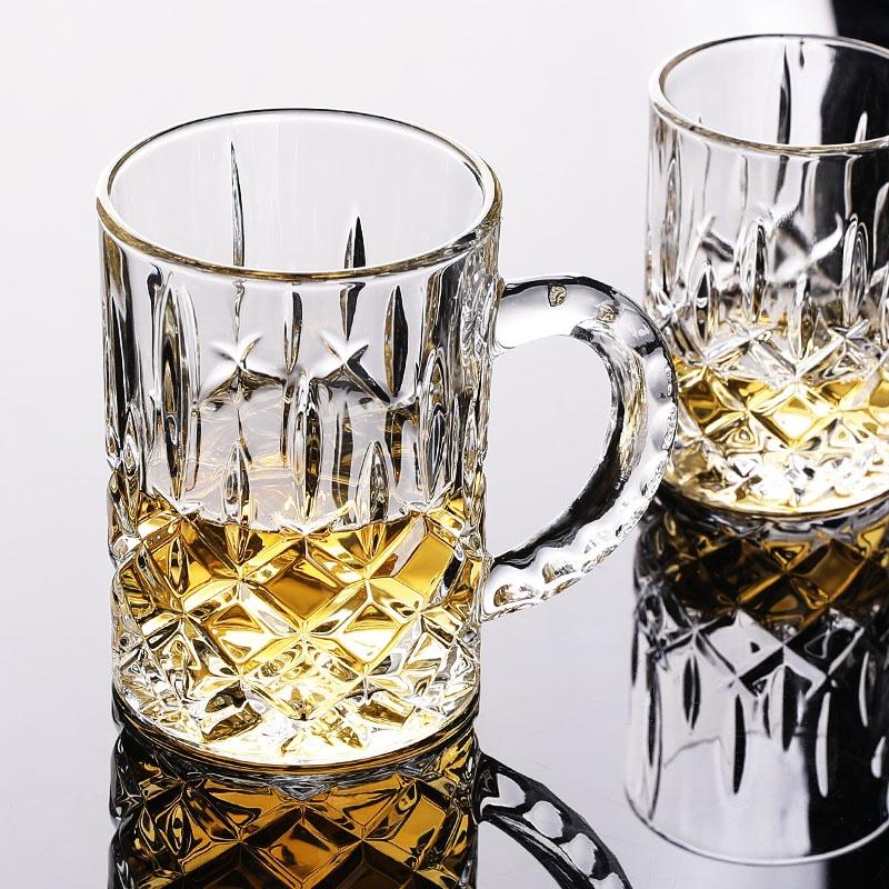 玻璃杯啤酒杯泡茶喝水杯家用带把手加厚耐热透明欧式刻花2个包邮