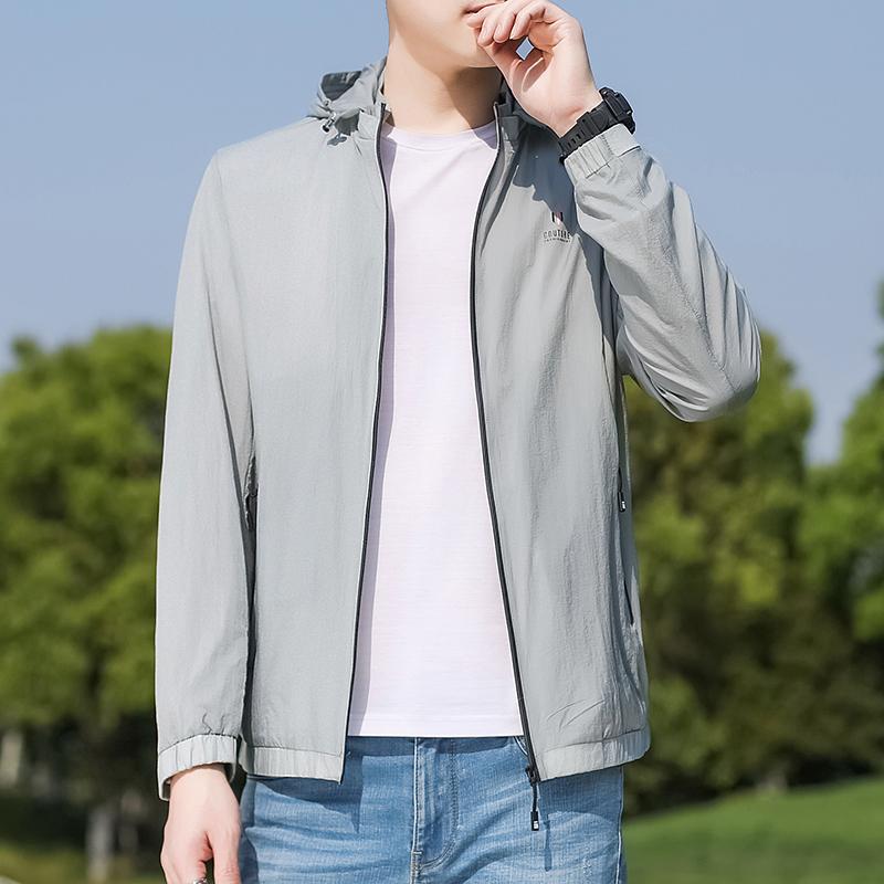 高品质外套男夏季轻薄防晒服春秋款衣服中年男士可拆卸连帽夹克休