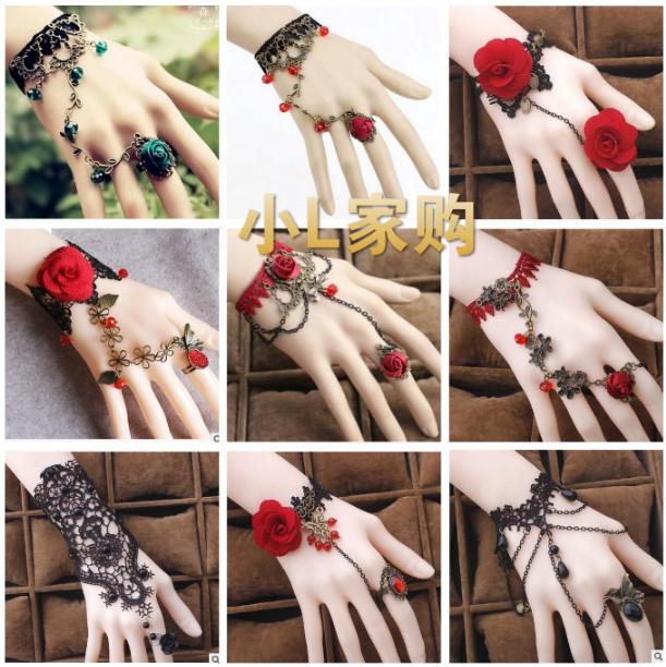 复古甜美蕾丝多层手链戒指一体链组合女手镯萝莉新娘结婚手饰
