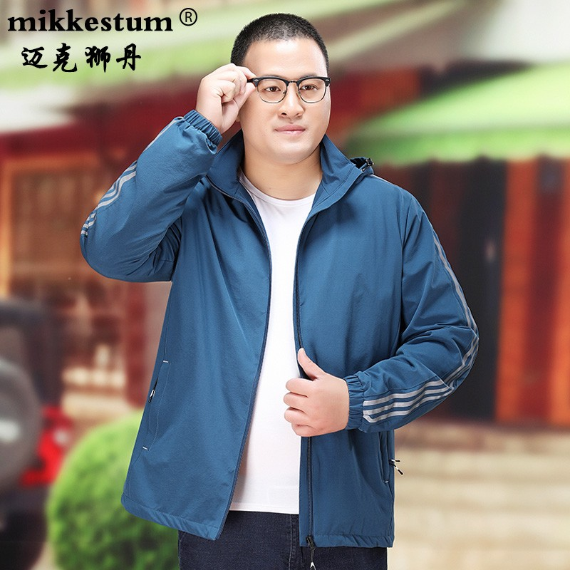 High end business brand plus size mens jacket extra large fat guy loose hooded Sports Top fat man