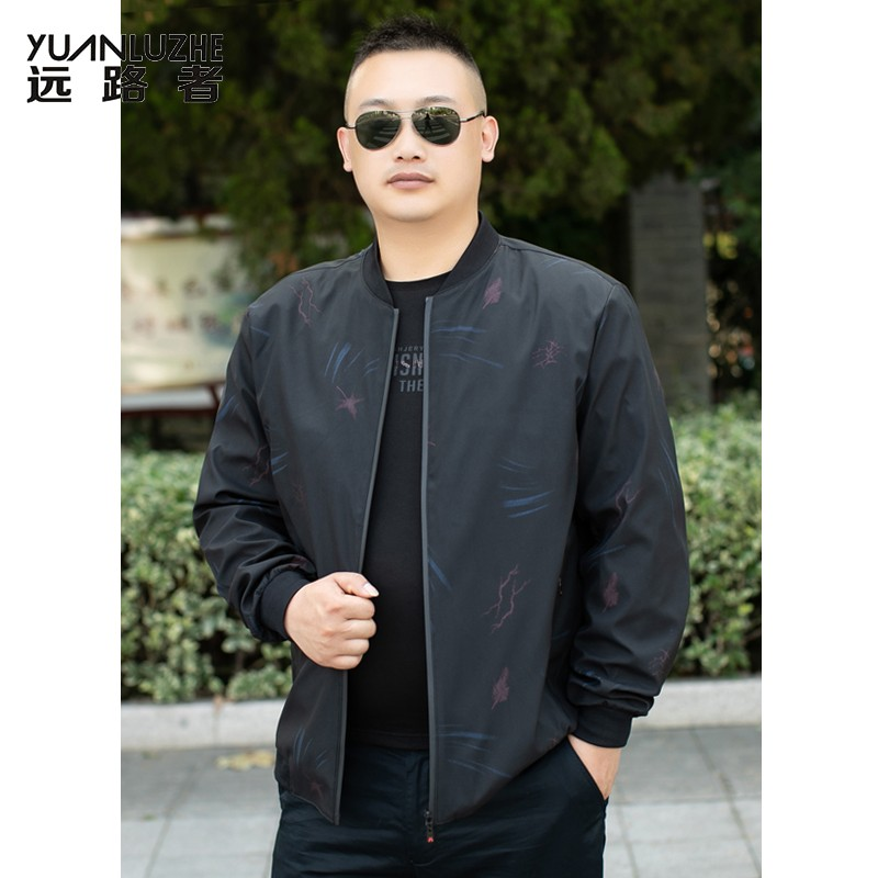 Counter authentic fat man extra large spring and autumn jacket mens extra fat extra large thin coat middle-aged Dad