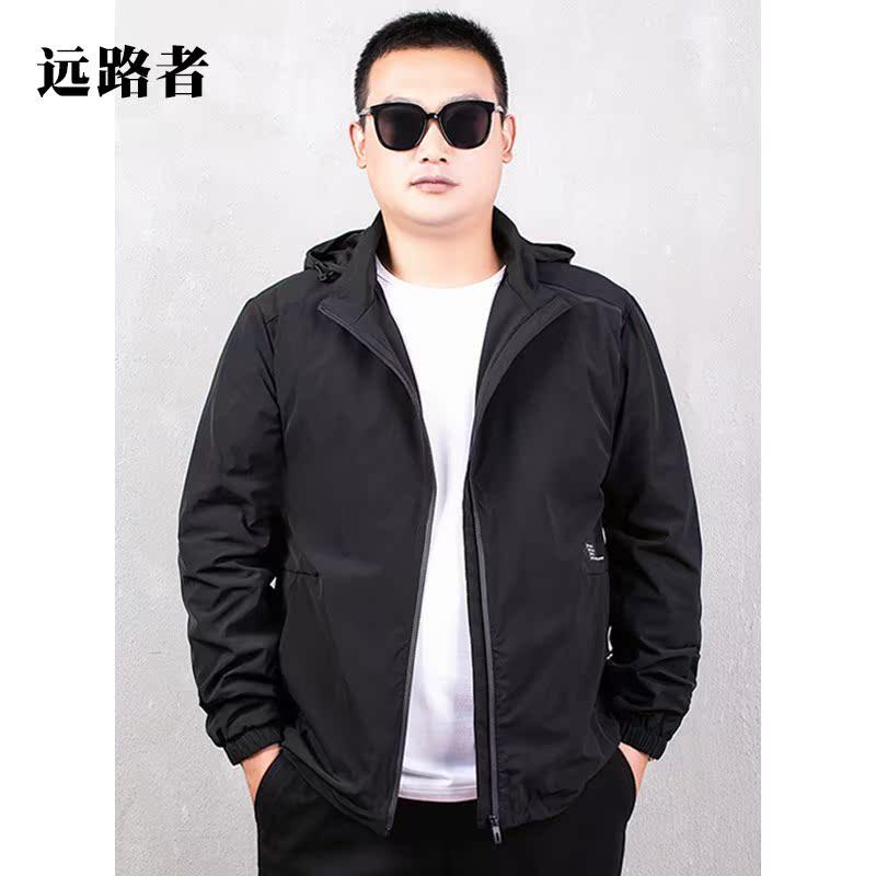 专柜正品男士运动夹克加肥加大码胖子户外风衣春秋季薄款透气外套