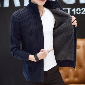 Кардиган плюс ворсинки мужской одежды корейский молния свитер от тонкий молодежь пальто с кашемиром сгущаться воротник тенденция, цена 1241 руб