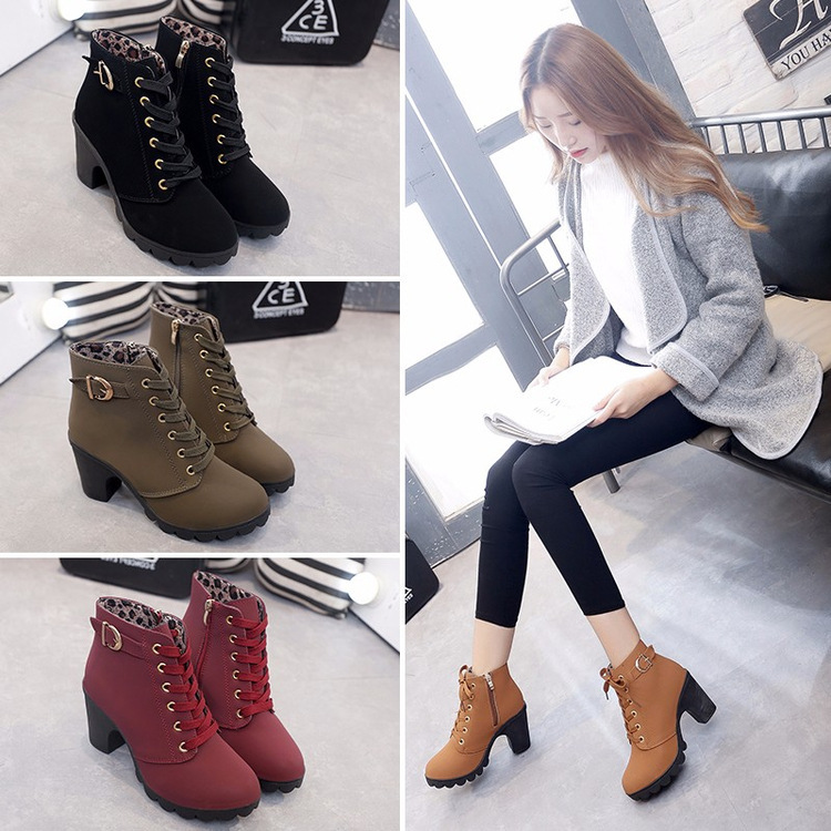 New Korean thick heel short boots Martin boots womens lace up round head womens boots frosted thick high heel short boots