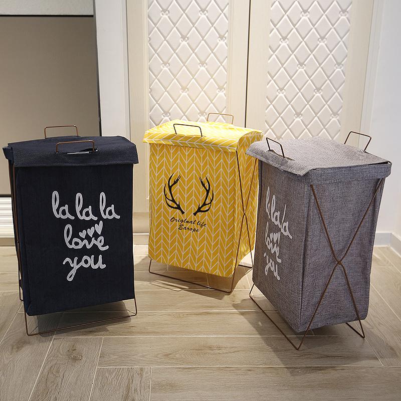脏衣服收纳棉麻脏衣服收纳筐可折叠支架防水超大脏衣篮防水洗衣篮图片