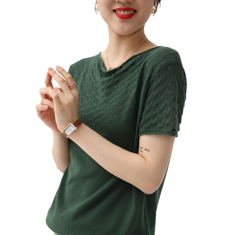 Chan Lai AIs new short sleeve womens pure cotton knitted T-shirt is hollow out, loose and versatile, cotton and hemp top, and V-neck is the base