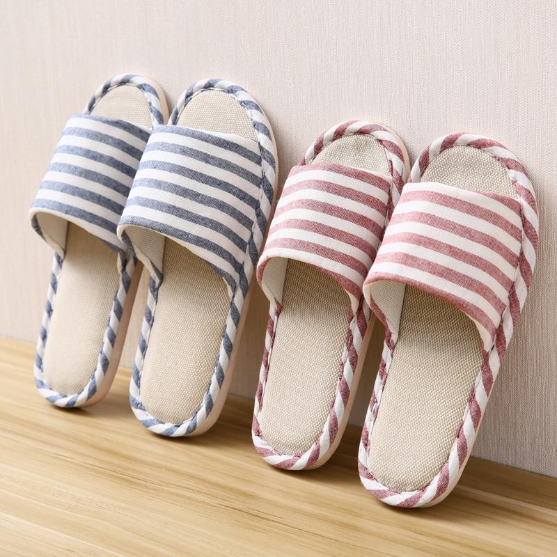 亚麻拖鞋女夏季韩版可爱居家室内情侣男家居防滑四季棉麻家用软底
