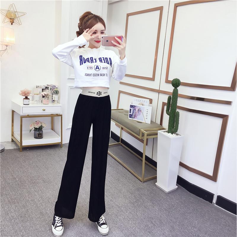 2020秋款小性感印花短款卫衣+高腰直筒拖地阔腿裤套装