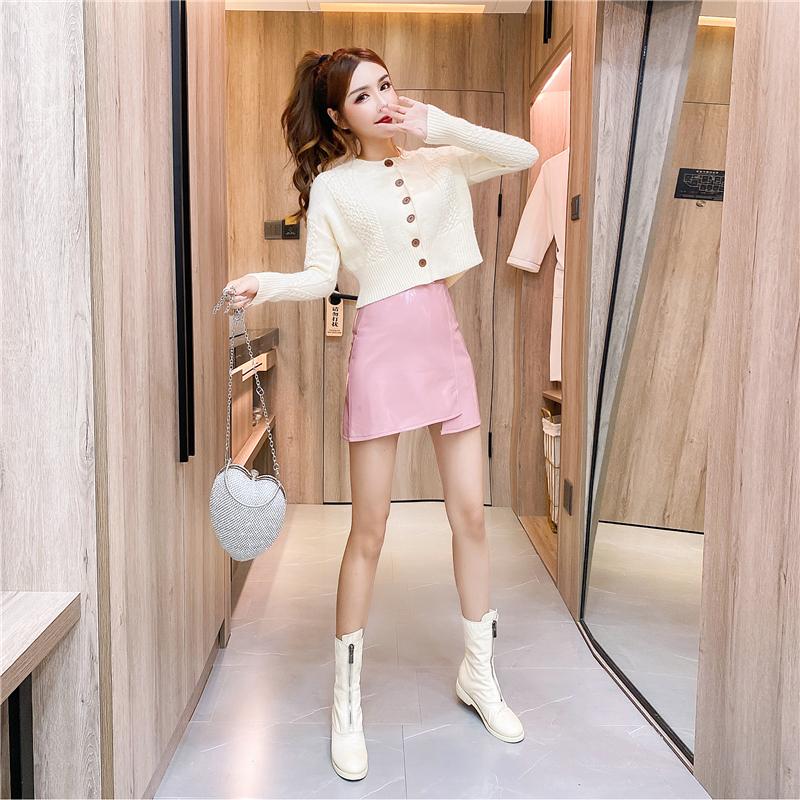 秋冬小个子气质短款宽松加厚毛衣+不对称PU短裙套装