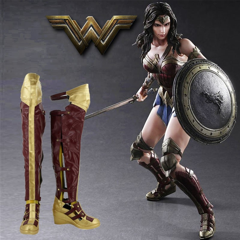 Shiman custom made Wonder Woman cos Diana Halloween boots shoes Cosplay womens wear