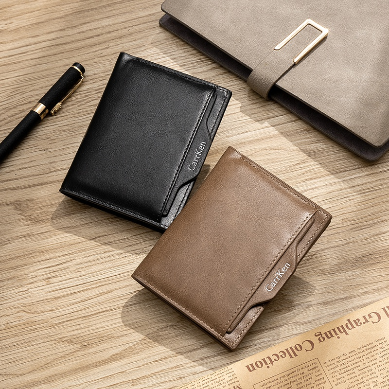 2021 new mens wallet short double sided simple retro mens folding wallet zero wallet drivers license bag