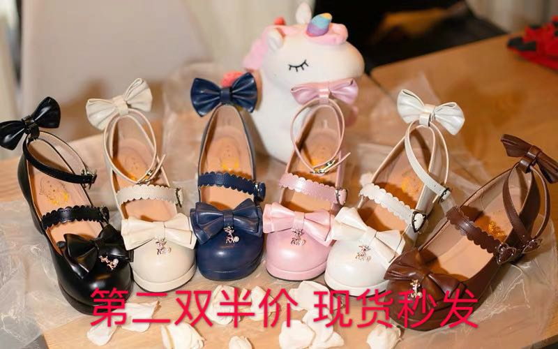 Lolita Lolita bow tie Japanese medium heel girl single shoes