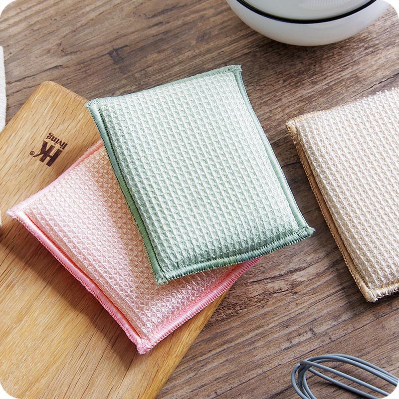 厨房刷碗清洁海绵刷洗碗布加厚竹纤维刷锅百洁布海绵擦刷碗布抹