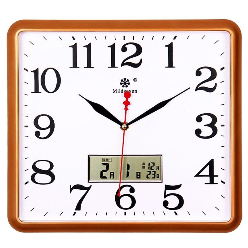 现代简约方形挂钟表挂表石英钟时钟大气时尚静音家用装饰日历创意,可领取40元淘宝优惠券