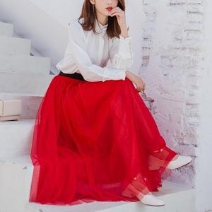 网纱半身裙大红色半身裙网纱蓬蓬裙纱裙女百褶裙子中长款大摆裙子