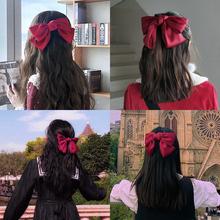 红色大蝴蝶结发夹韩国发饰网红发卡少女边夹头饰夹子顶夹ins头绳