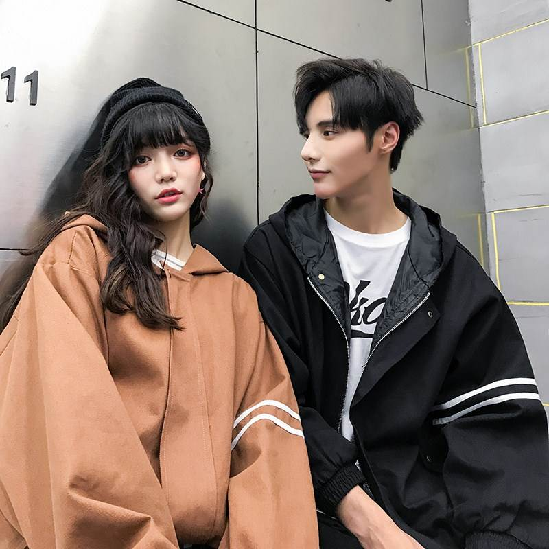 Autumn oversized jacket student jacket 200jin literature jacket loose couple class uniform mens and womens Hooded Jacket