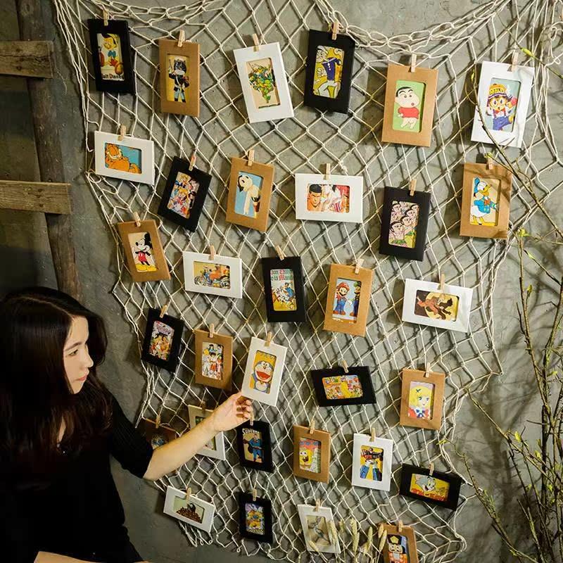 个性渔网理发店墙面装饰品奶茶店墙壁挂件创意照片墙相框墙上壁挂
