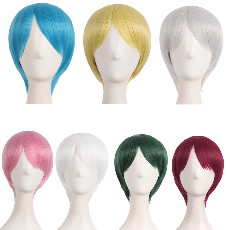 Clearance cos Wig Mens and womens universal short hair invisible no trace animation short straight hair role play realistic full headgear
