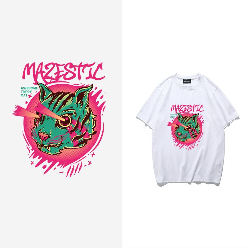 Mens summer fashion T-shirt Street retro skateboard punk hip hop cartoon mens and womens casual half sleeve T-shirt