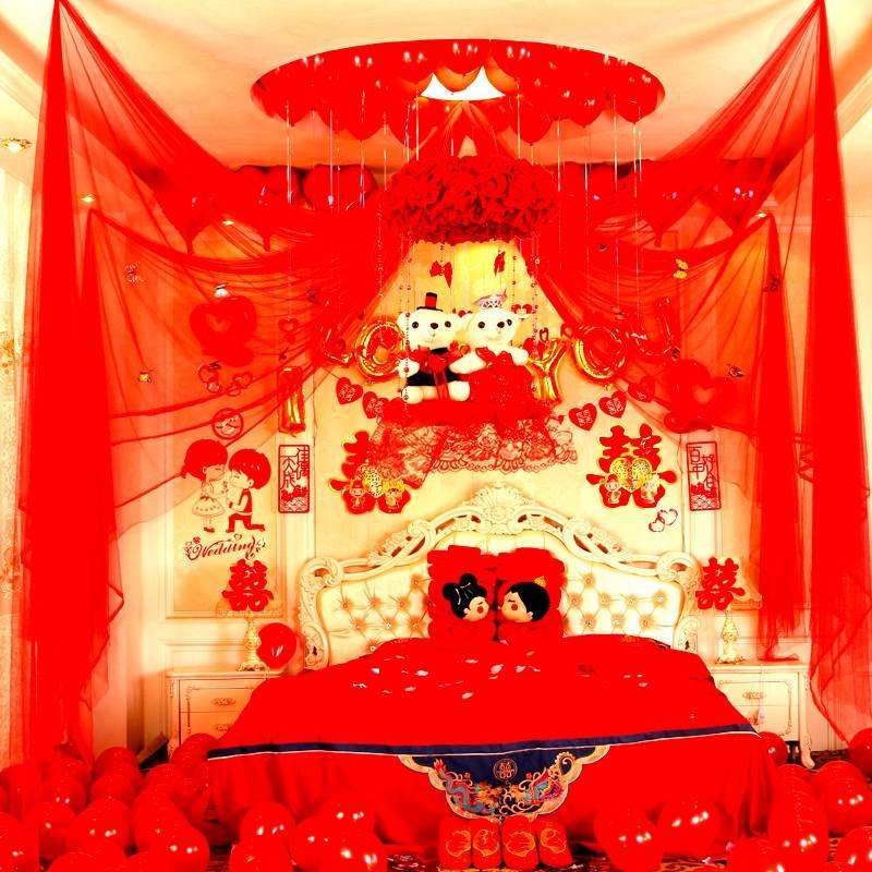 结婚婚房浪漫拉花客厅卧室婚房装饰布置拉花韩式婚庆婚礼结婚用品