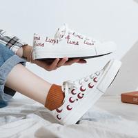 歌芙蝶低帮月亮鸳鸯帆布鞋女2021春夏新韩版学生休闲百搭小白鞋潮