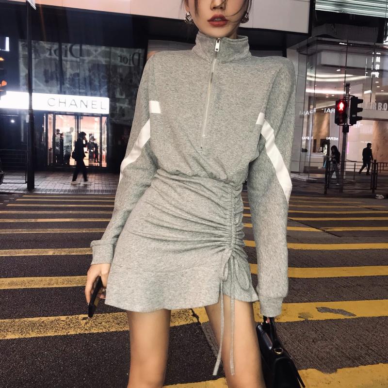 LIGO 00 spring long sleeve drawstring pleated Ruffle Skirt Dress womens casual sports skirt