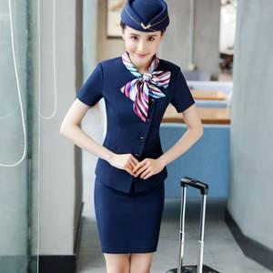 空姐夏裝女賓館前臺工作服套裝制服