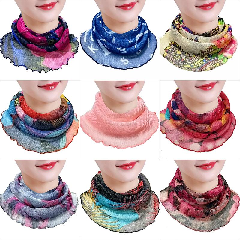夏季丝巾护颈椎围巾小围脖女套头挂耳面纱防晒百变多功能脖套薄款