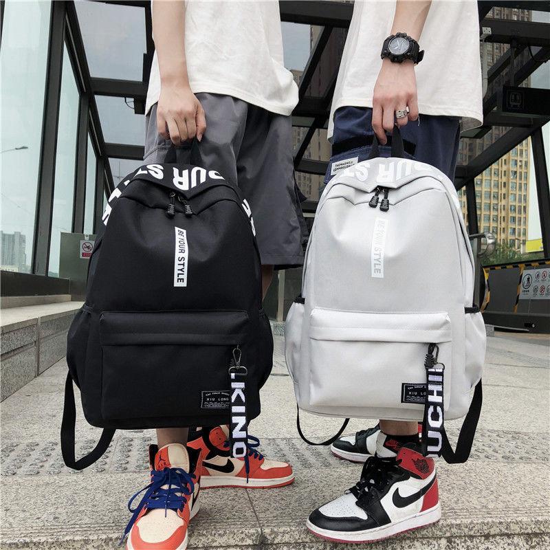防水大容量学生书包男ins风双肩包女时尚韩版初中高中大学生背包 - 封面