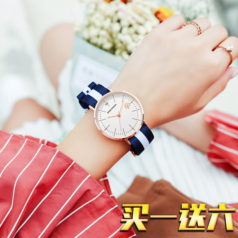 |2020 new ins Style Watch female simple temperament student junior high school female Korean version extremely simple wind canvas waterproof
