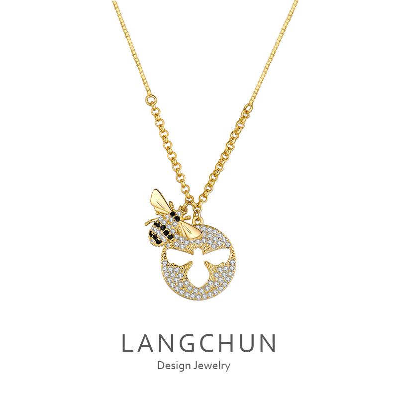 金色小蜜蜂长短款项链女韩版简约大方网红锁骨链颈带饰品吊坠颈链