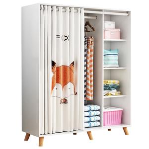 简约现代经济型卧室布帘门儿童衣柜